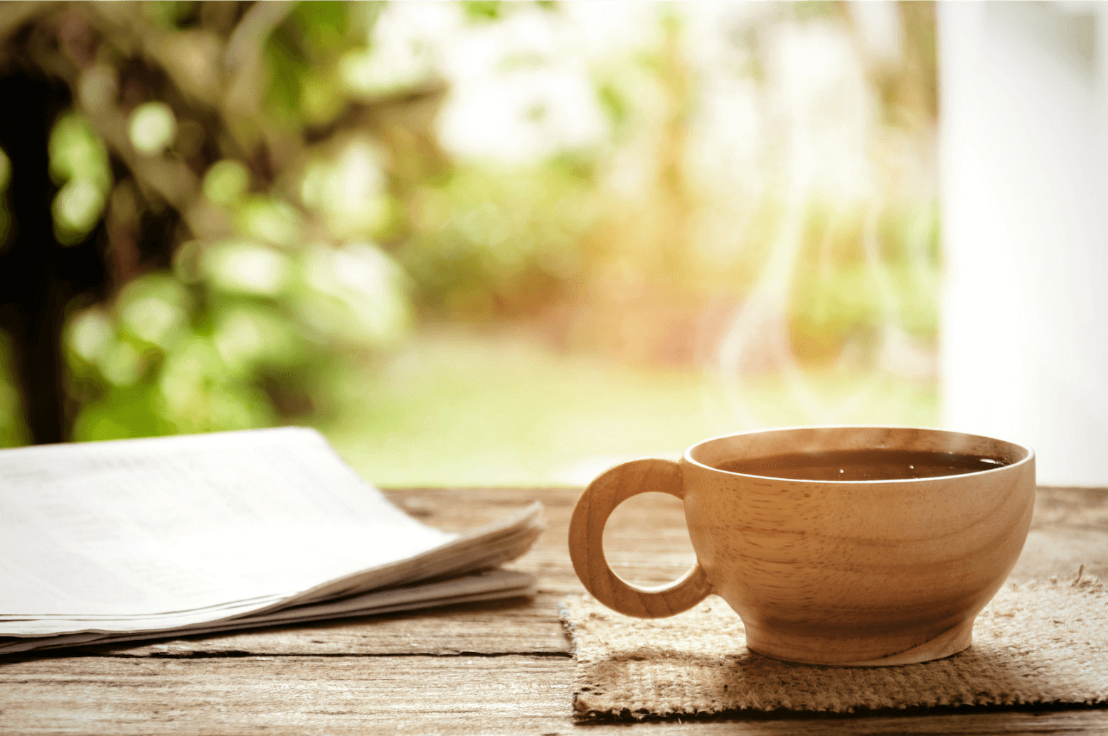 Warm tea while reading newsletters