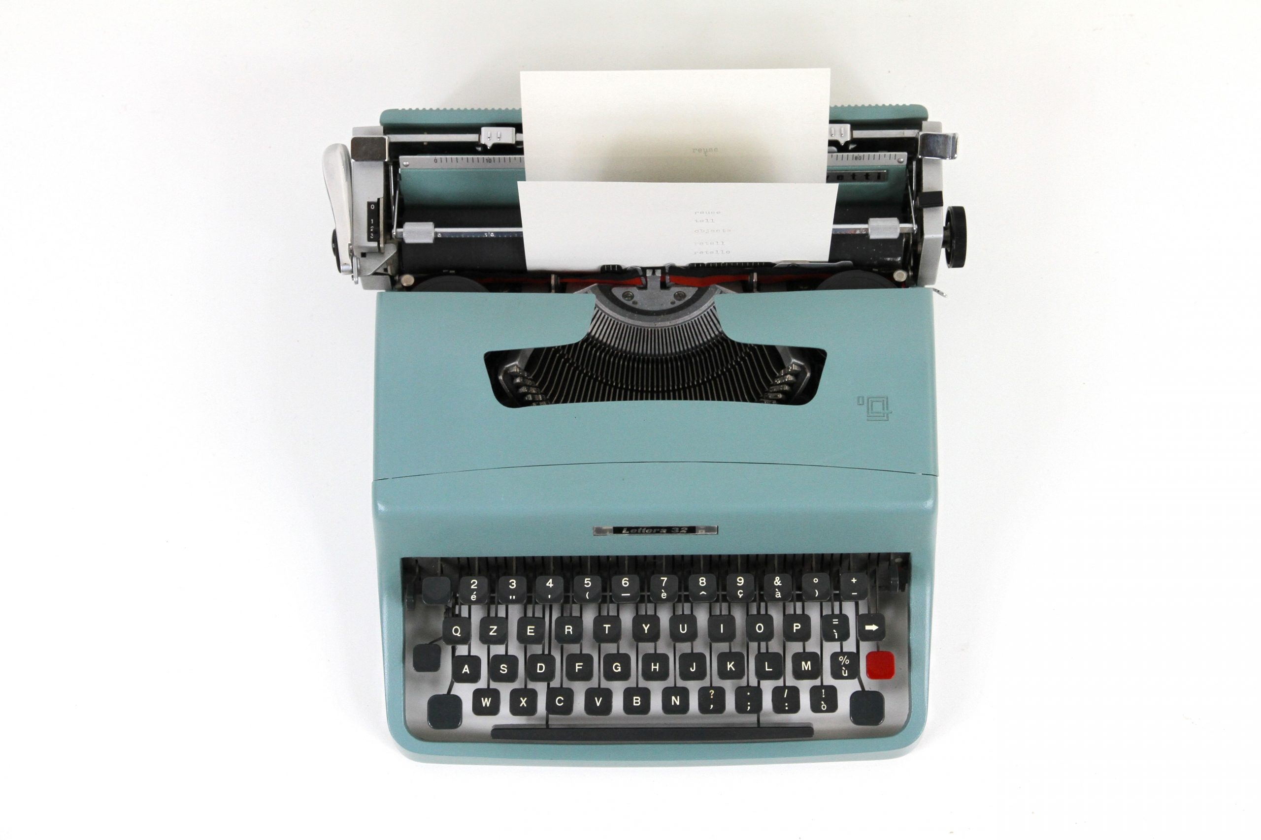 Writing content on a typewriter